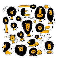 Funny lions sketch for your design vector