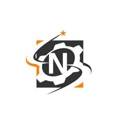 gear solution logo letter n vector image