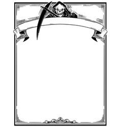 Halloween frame with grim reaper vector