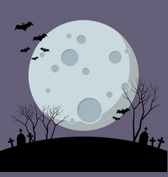 Halloween night with bats flying over moon vector