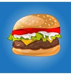 Hamburger on the blue vector