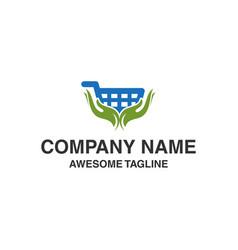 hand care shop logo shopping care logo logo vector image
