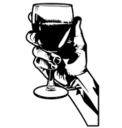 hand holding a glass wine vector image