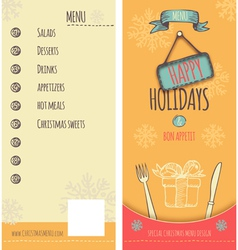 Happy Holiday Christmas menu vector image
