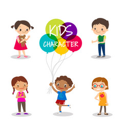 Happy preteen kids cartoon characters vector