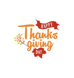 Happy thanksgiving day text logo badge design vector
