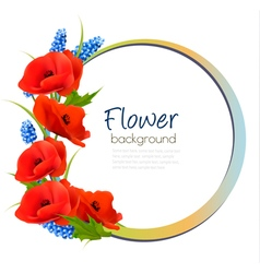 Holiday background with red flowers vector