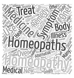 Homeopathy 101 text background wordcloud concept vector