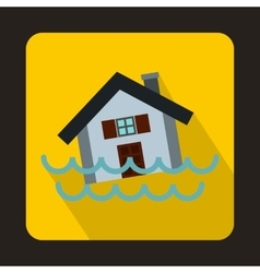 House sinking in a water icon flat style vector image