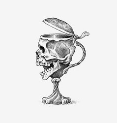 Human skull in form a wine goblet retro vector