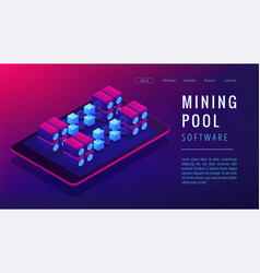 Isometric mining pool landing page concept vector