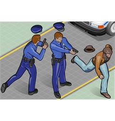 Isometric Policeman and Robber vector image vector image