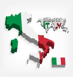 Italy 3d flag and map vector