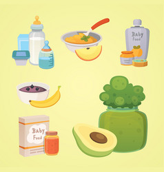 juices and purees from apples for baby cartoon vector image