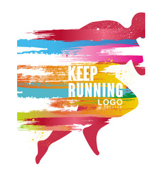 Keep running logo gesign colorful poster template vector