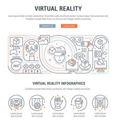 Linear banner virtual reality vector