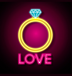 Love poster with neon lights vector