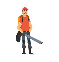 Man gardener using leaf blower male farmer vector
