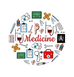 Medicine and medical check up sketch icons vector