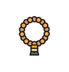 Natural muslim rosary flat color line icon vector