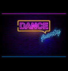 Neon light dance party on brick wall vector