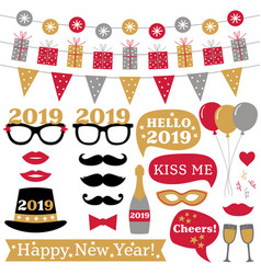 new year 2019 photo booth props and decoration vector image