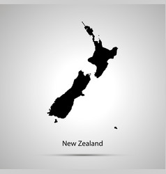 New zealand country map simple black silhouette vector