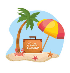 palm tree with umbrella and briefcase with crab vector image