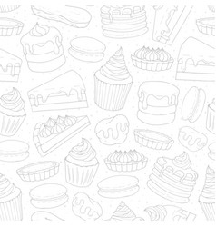 Pastry repeat pattern with cakes pies muffins vector