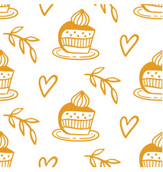 pastry sweet bakery seamless pattern vector image