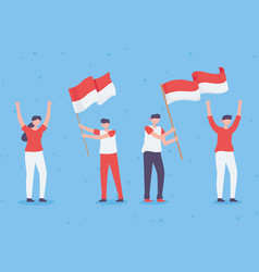 People with indonesia flag vector