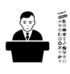 Politician Icon With Air Drone Tools Bonus vector