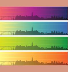 Porto multiple color gradient skyline banner vector