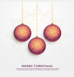 premium merry christmas design with hanging balls vector image