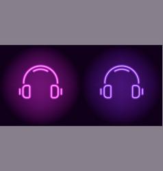 Purple and violet neon headphones vector