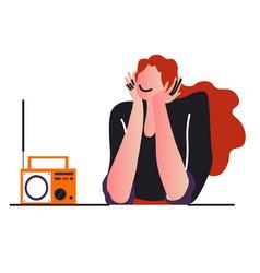 Radio broadcast or music listening girl vector