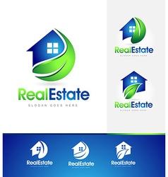 Real Estate House Logo Leaf vector image