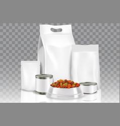 realistic pet food pack mock up set vector image