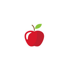 red apple with green leaf for logo design vector image
