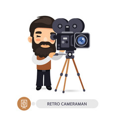 Retro cameraman flat cartoon character vector
