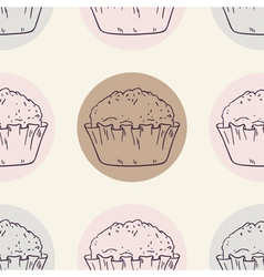 Retro seamless pattern with muffins vector image