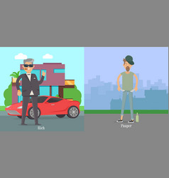 Rich pauper men difference between social levels vector