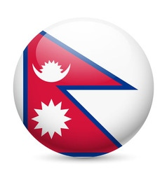 Round glossy icon of nepal vector