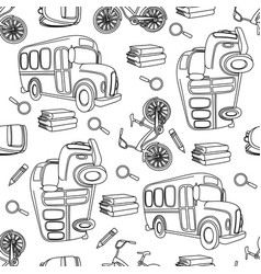 School bus bike white seamless pattern vector