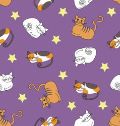 Seamless pattern with sleeping cats vector image