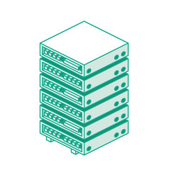 server rack isometric outline object isolated vector image