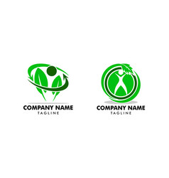 set human leaf logo template vector image