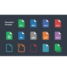 Set of Document File Formats icons vector image