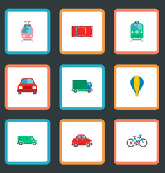 set of transport icons flat style symbols with vector image