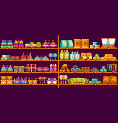 showcase with baor kid toys animal items vector image